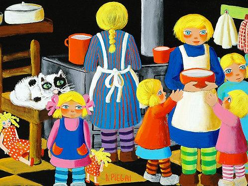 Madre prepara biscotti con le figlie