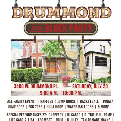 3400 Drummond Block Party 2019 Flyer
