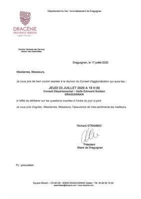 Conseil d'Agglomération du 23 juillet 2020
