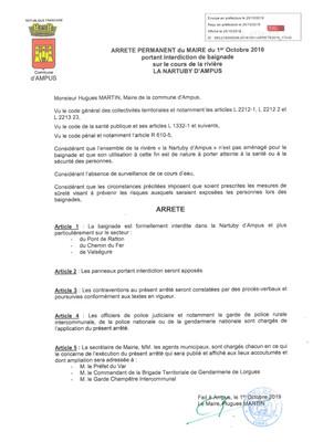 Arrêté Permanent du Maire du 01 Octobre 2019