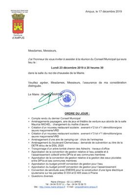 Réunion du Conseil Municipal le lundi 23 décembre 2019