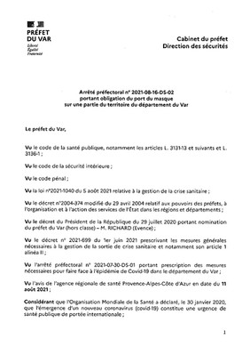 ARRETES PREFECTORAUX EN LIEN AVEC LA COVID-19