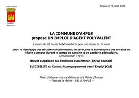 LA COMMUNE D'AMPUS PROPOSE UN EMPLOI D'AGENT POLYVALENT