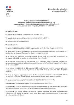 ARRETE PREFECTORAL INTERDISANT LES VENTES AU DEBALLAGE