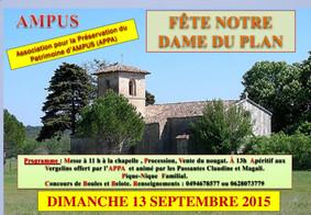 Fête de Notre Dame du Plan, dimanche 13 septembre