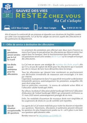 Covid-19: Flash Info CAF du Var