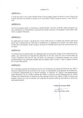 COVID-19 : INTERDICTION TEMPORAIRE D'ACCES A CERTAINS ESPACES NATURELS ET AUX MASSIFS FORESTIERS