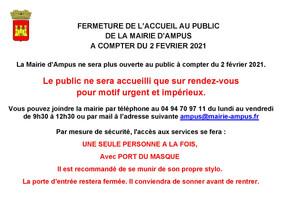 FERMETURE DE L'ACCUEIL AU PUBLIC DE LA MAIRIE D'AMPUS