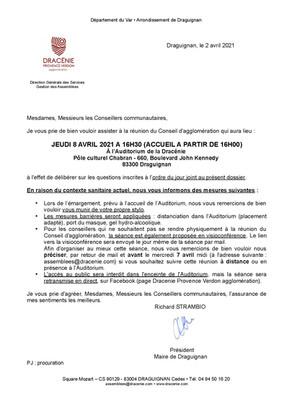 REUNION DU CONSEIL D'AGGLOMERATION - JEUDI 08 AVRIL 2021 A 16H00
