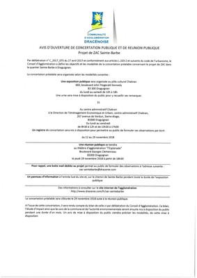 Avis d'ouverture de concertation publique et de réunion publique. (Projet de ZAC Sainte-Barbe)
