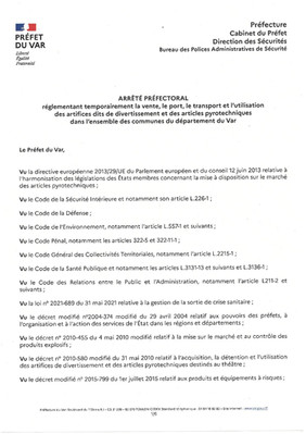 ARRETES PREFECTORAUX DU 02/06/2021 AU 08/06/2021