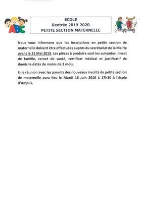 Ecole Rentrée 2019-2020
