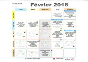 Menus scolaire Février 2018