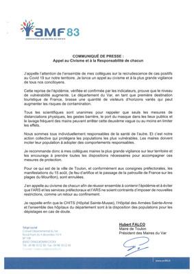 COMMUNIQUÉ DE PRESSE : Appel au Civisme et à la Responsabilité de chacun