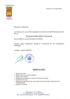 Réunion du Conseil Municipal le Dimanche 22 Mars 2020