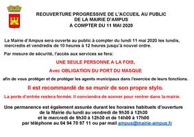 REOUVERTURE PROGRESSIVE DE L'ACCUEIL AU PUBLIC DE LA MAIRIE D'AMPUS A COMPTER DU 11 MAI 2020