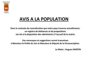 Avis à la population : cahier doléances et propositions