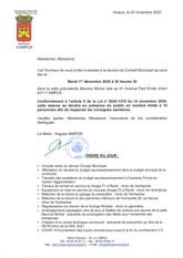 REUNION DU CONSEIL MUNICIPAL LE MARDI 1ER DECEMBRE 2020
