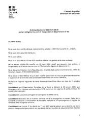 ARRETE PREFECTORAL PORTANT OBLIGATION DU PORT DU MASQUE DANS LE DEPARTEMENT DU VAR