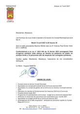 REUNION DU CONSEIL MUNICIPAL LE MARDI 13 AVRIL 2021