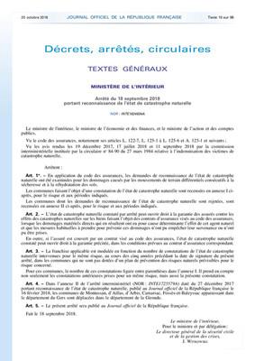 RECONNAISSANCE ETAT DE CATASTROPHE NATURELLE : SECHERESSE 01/07-30/09/2017
