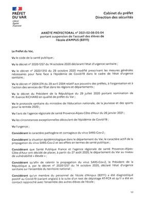 FERMETURE DE L'ECOLE D'AMPUS DU MARDI 9 FEVRIER AU LUNDI 15 FEVRIER 2021 INCLUS