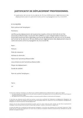 CORONAVIRUS : NOUVELLE ATTESTATION DE DEPLACEMENT DEROGATOIRE ET NOUVEAU JUSTIFICATIF DE DEPLACEMENT