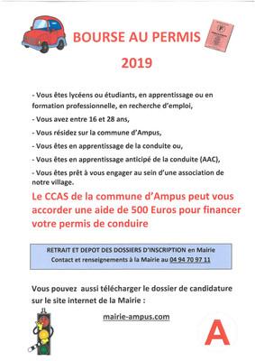 Bourse au permis 2019