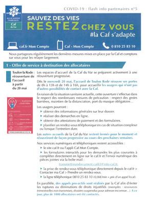 Covid-19 : Flash info CAF n°5