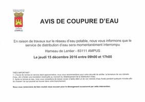 Hameau de Lentier : Avis de coupure d'eau jeudi 15 décembre entre 9h et 17h