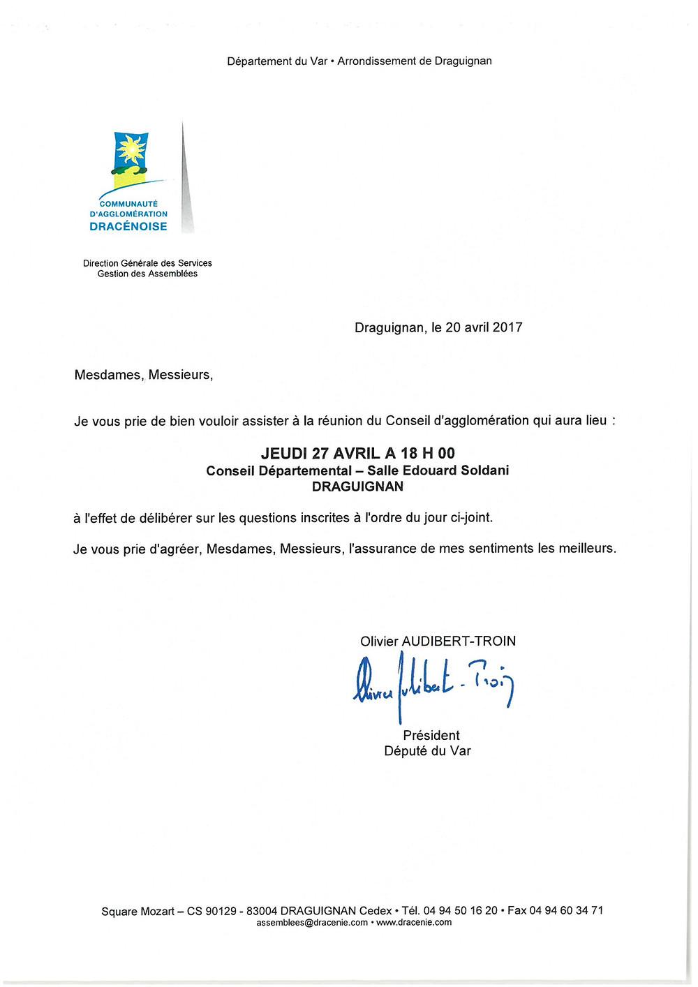 Vous trouverez ci-joint l'ordre du jour relatif à la prochaine séance du Conseil d'agglomération, qui se déroulera le : JEUDI 27 AVRIL 2017 A 18H00 Conseil Départemental de Draguignan, Salle Édouard Soldani.