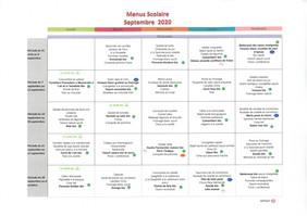 Menus scolaires SEPTEMBRE 2020