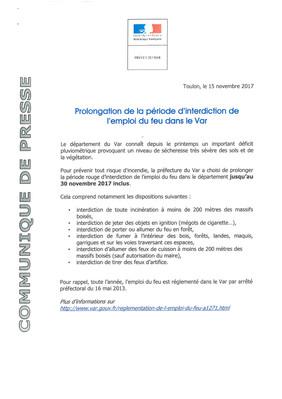 PROLONGATION DE LA PERIODE D'INTERDICTION DE L'EMPLOI DU FEU DANS LE VAR