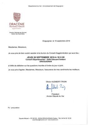 Conseil d'agglomération Dracénie Provence Verdon du 26-09-2019