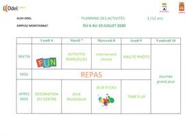 Odel loisirs : Plannings des activités du mois de juillet