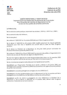 ARRÊTE PREFECTORAL N°2020-11-30-DS-01