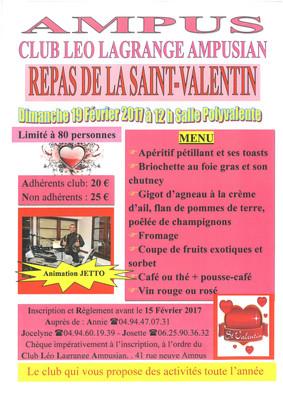 Club Léo Lagrange Ampusian : Repas de la Saint-Valentin