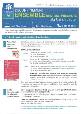 COVID-19: CAF Flash info partenaires n°6