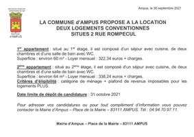 LA COMMUNE D'AMPUS PROPOSE A LA LOCATION DEUX LOGEMENTS CONVENTIONNES SITUES 2 RUE ROMPECUL