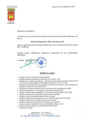 REUNION DU CONSEIL MUNICIPAL LE MARDI 28 SEPTEMBRE 2021