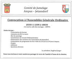Assemblée Générale du Comité de Jumelage Ampus-Jetzendorf