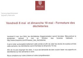 Communiqué de presse de Dracénie Provence Verdon agglomération : Fermeture des déchèteries le vendre