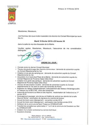 Conseil Municipal 19 février 2019