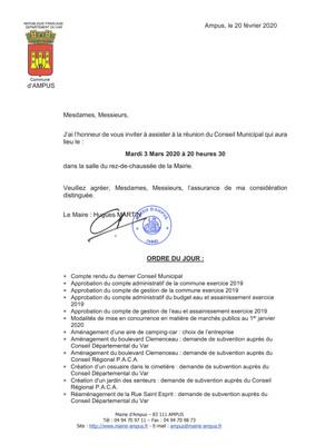 Réunion du Conseil Municipal le mardi 3 mars 2020