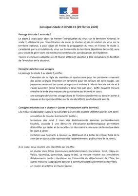 Consignes Stade 2 COVID-19 (29-02-2020)