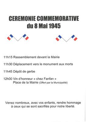 Le 8 Mai 2017 aura lieu le rassemblement et la cérémonie commémorative du 8 Mai 1945. Venez nombreux