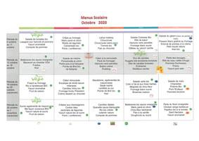 Menus scolaires OCTOBRE 2020