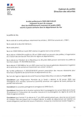 PORT DU MASQUE DANS LES ETABLISSEMENTS RECEVANT DU PUBLIC (ERP) SOUMIS A PASSE SANITAIRE DANS LE VAR