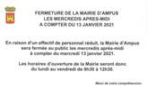 FERMETURE DE LA MAIRIE LE MERCREDI APRES-MIDI