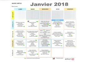 MENU JANVIER 2018